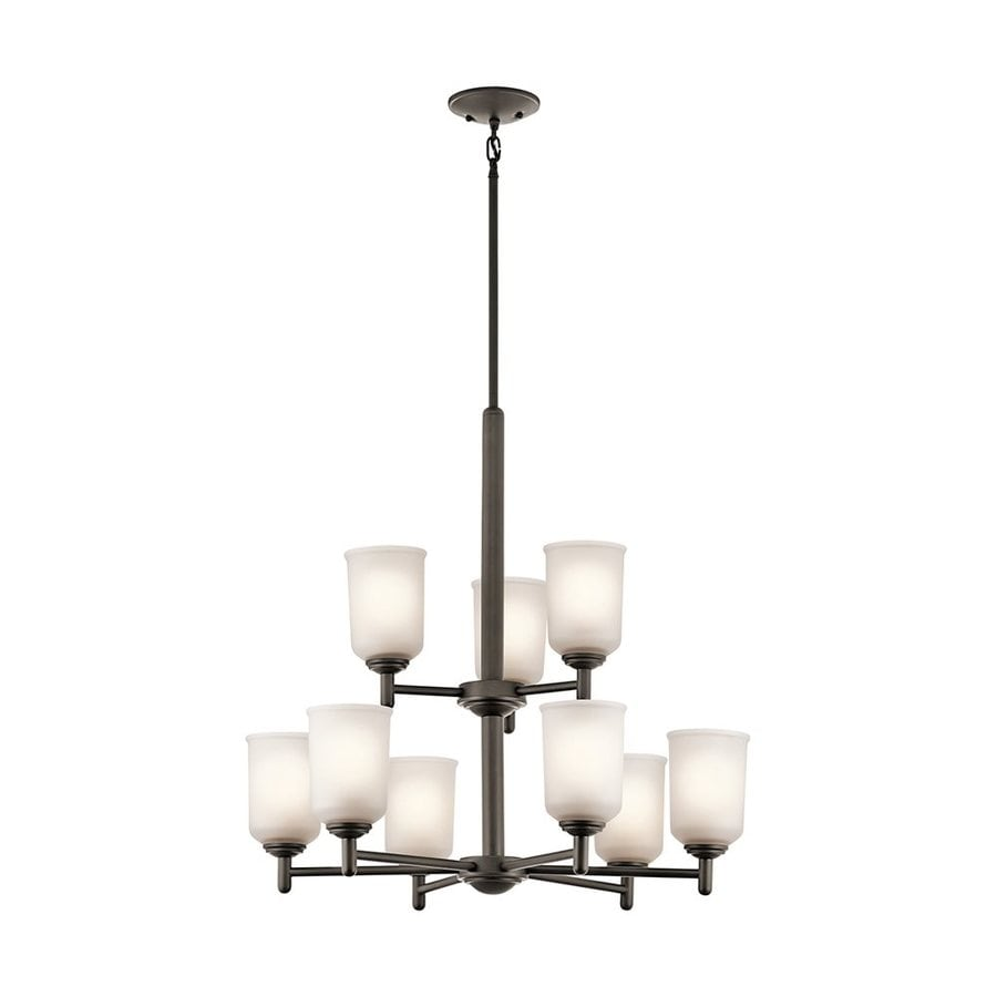 Kichler Lighting Shailene 26.25-in 9-Light Olde Bronze Etched Glass Tiered Chandelier