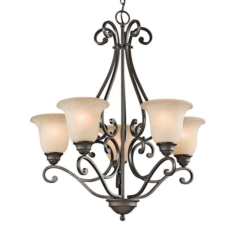 Kichler Camerena 27-in 5-Light Olde bronze Mediterranean Shaded Chandelier
