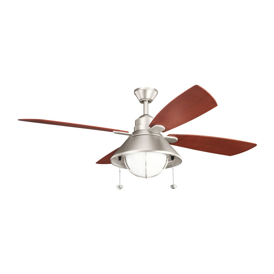 Kichler Seaside 54-in Brushed nickel Indoor/Outdoor Downrod Mount Ceiling Fan with Light Kit (4-Blade)
