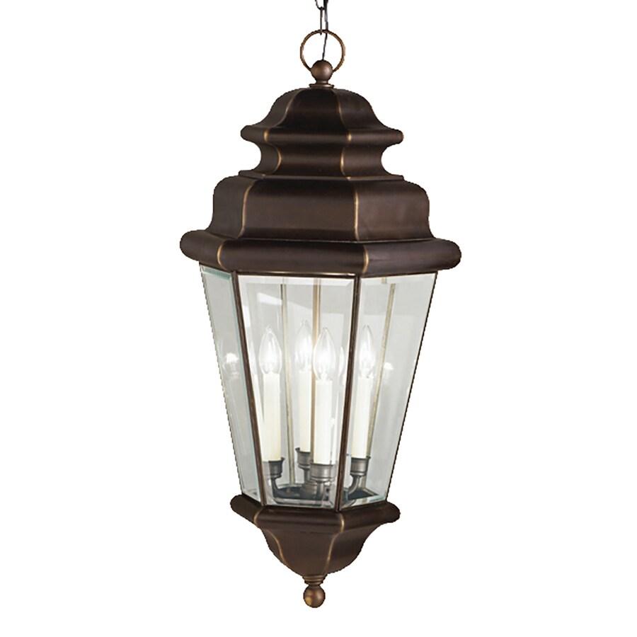 Kichler Savannah Estate 15-in Olde Bronze Vintage Hardwired Single Clear Glass Lantern Pendant