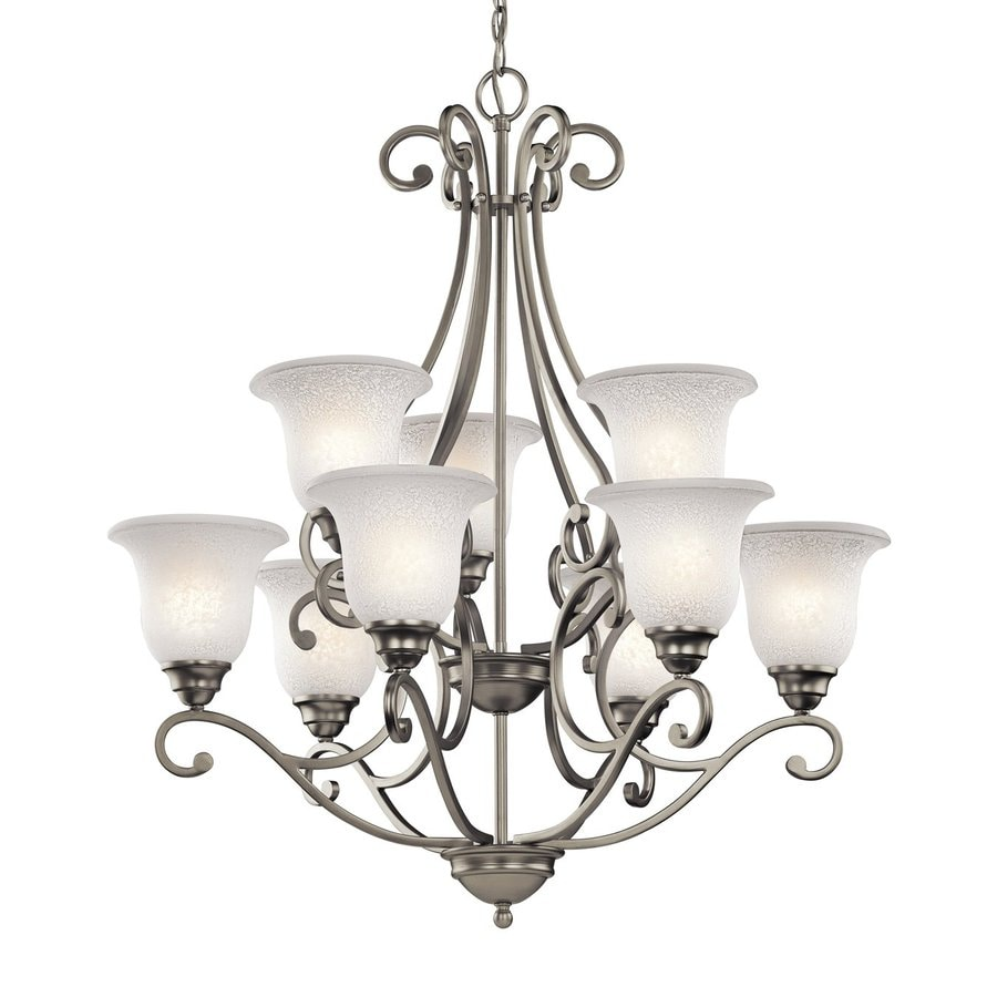 Kichler Camerena 30-in 9-Light Brushed Nickel Vintage Hardwired Tiered Chandelier