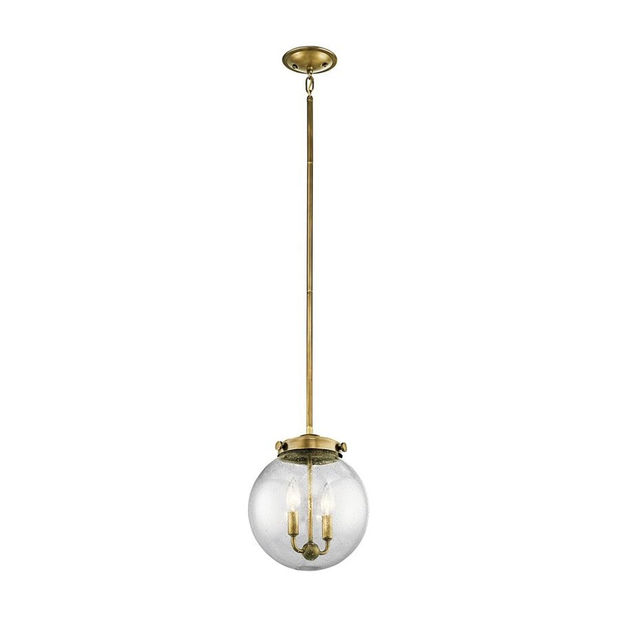 Kichler Lighting Holbrook 10-in Natural Brass Vintage Hardwired Single Seeded Glass Globe Pendant