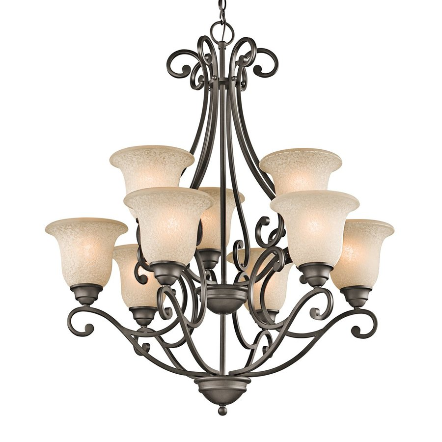 Kichler Lighting Camerena 30-in 9-Light Olde Bronze Mediterranean Tiered Chandelier