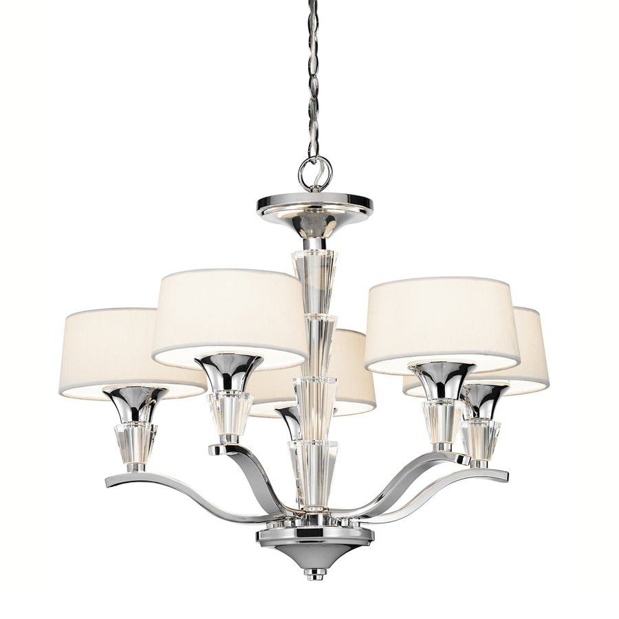 Kichler Crystal Persuasion 17-in 5-Light Chrome Crystal Etched Glass Shaded Chandelier