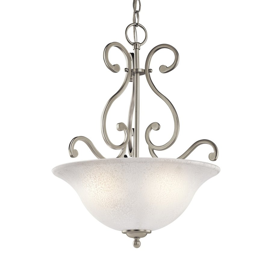 Kichler Camerena 18-in Brushed Nickel Country Cottage Hardwired Single Textured Glass Bowl Pendant