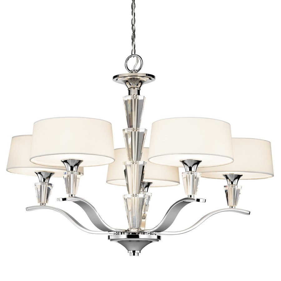 Kichler Crystal Persuasion 30-in 5-Light Chrome Crystal Etched Glass Shaded Chandelier