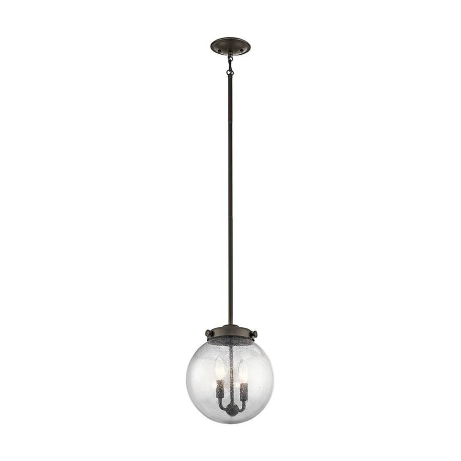 Kichler Holbrook 10-in Olde Bronze Vintage Hardwired Single Seeded Glass Globe Pendant