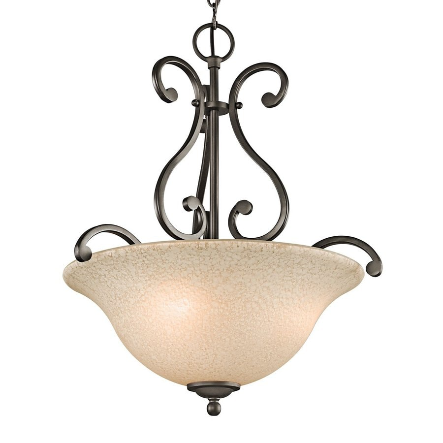 Kichler Lighting Camerena 18-in Olde Bronze Country Cottage Hardwired Single Textured Glass Bowl Pendant