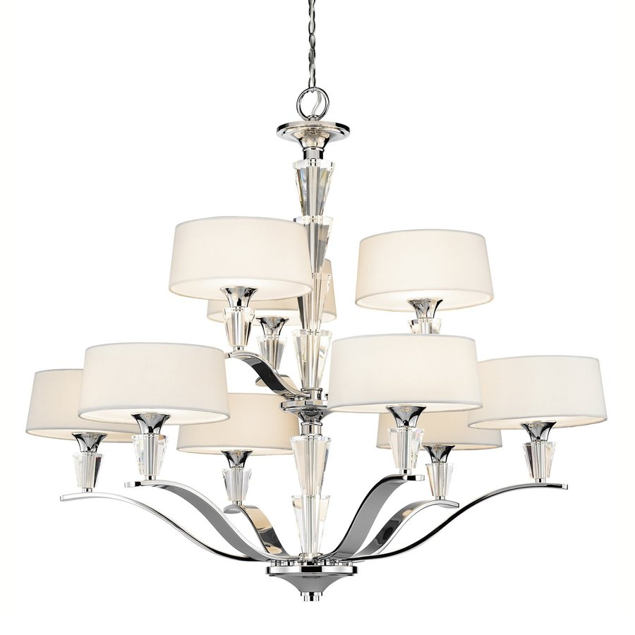 Kichler Crystal Persuasion 37-in 9-Light Chrome Crystal Hardwired Etched Glass Tiered Chandelier