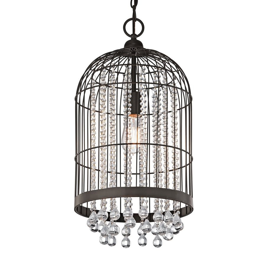 Kichler 11-in Olde Bronze Crystal Hardwired Single Cage Pendant