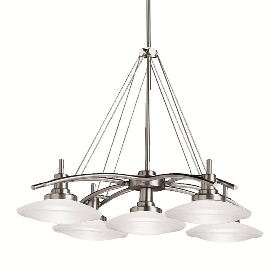 Kichler Structures 30.5-in 5-Light Brushed Nickel Etched Glass Shaded Chandelier