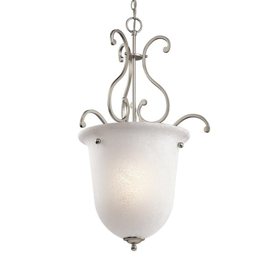 Kichler Lighting Camerena 20-in Brushed Nickel Vintage Hardwired Single Textured Glass Urn Pendant