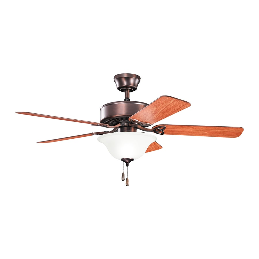 Kichler Lighting Renew Select Es 50-in Oil Brushed Bronze Downrod or Close Mount Indoor Ceiling Fan with Light Kit (5-Blade) ENERGY STAR