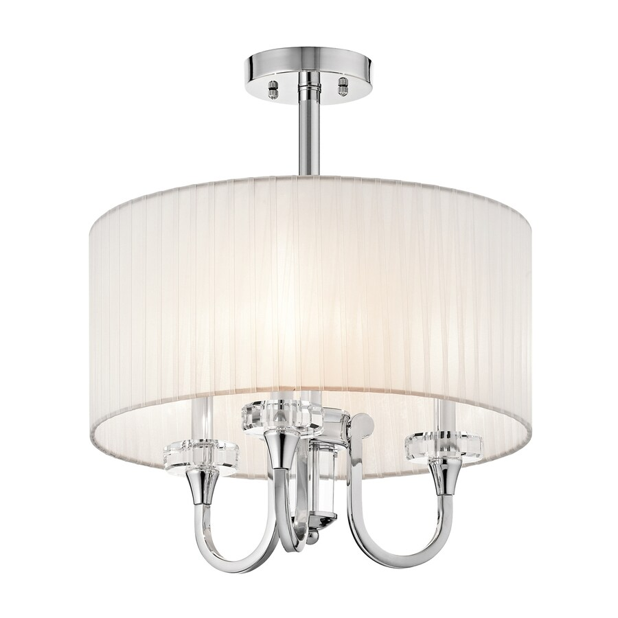 Kichler Lighting Parker Point 17-in W Chrome Fabric Crystal Accent Semi-Flush Mount Light
