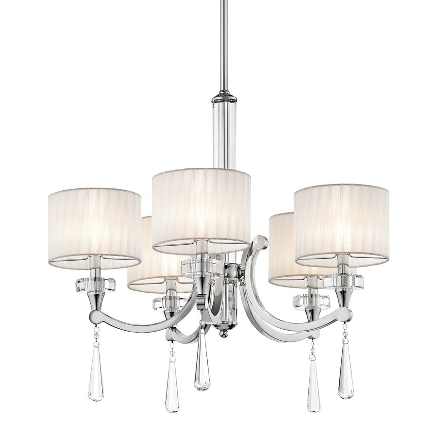 Kichler Parker Point 26-in 5-Light Chrome Crystal Hardwired Shaded Chandelier