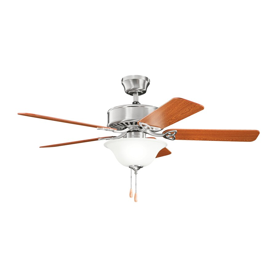 Kichler Lighting Renew Select 50-in Brushed Stainless Steel Downrod or Close Mount Indoor Ceiling Fan with Light Kit (5-Blade)