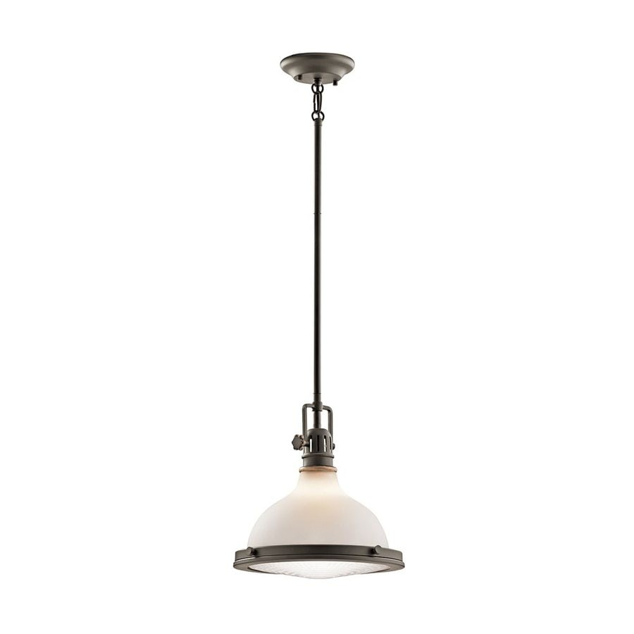 Kichler Hatteras Bay 11.5-in Olde Bronze Vintage Hardwired Single Etched Glass Warehouse Pendant