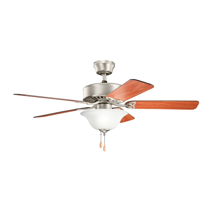 Kichler Renew Select 50-in Brushed Nickel Downrod or Close Mount Indoor Residential Ceiling Fan with Light Kit (5-Blade)