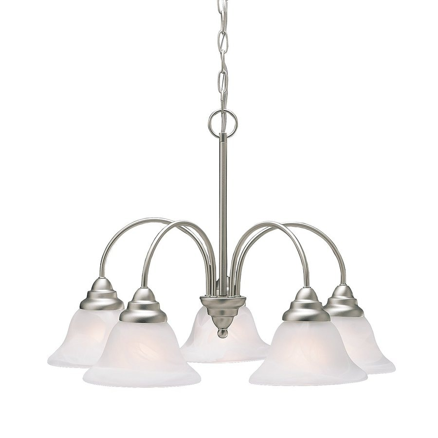 Kichler Lighting Telford 24-in 5-Light Brushed Nickel Country Cottage Etched Glass Shaded Chandelier