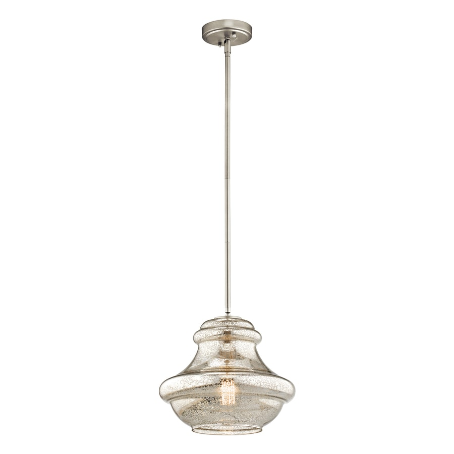 Kichler Lighting Everly 12-in Brushed Nickel Vintage Hardwired Single Mercury Glass Schoolhouse Pendant