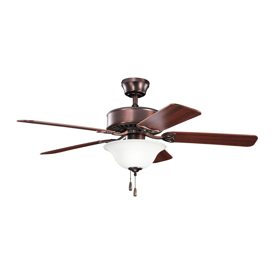 Kichler Lighting Renew Select 50-in Oil Brushed Bronze Downrod or Close Mount Indoor Ceiling Fan with Light Kit (5-Blade)