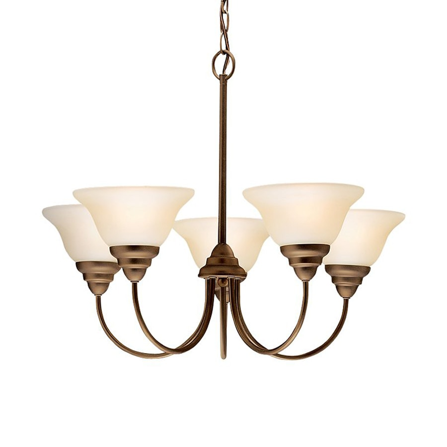 Kichler Telford 24-in 5-Light Olde Bronze Etched Glass Shaded Chandelier