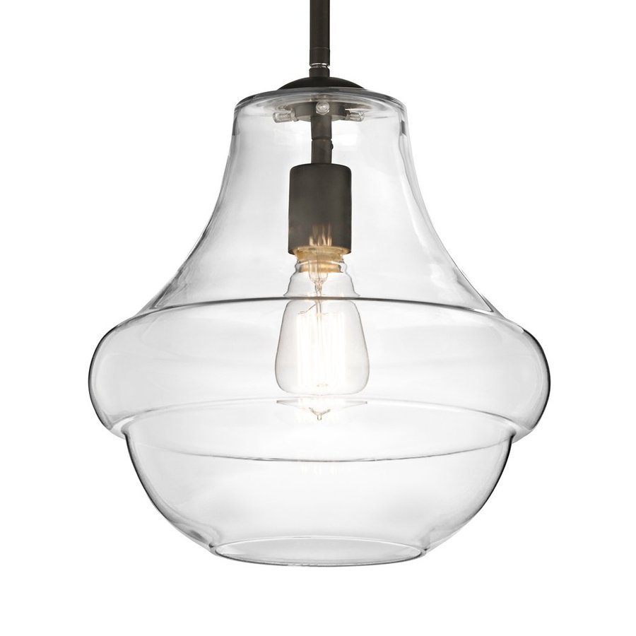 Kichler Lighting Everly 12-in Olde Bronze Vintage Hardwired Single Clear Glass Schoolhouse Pendant