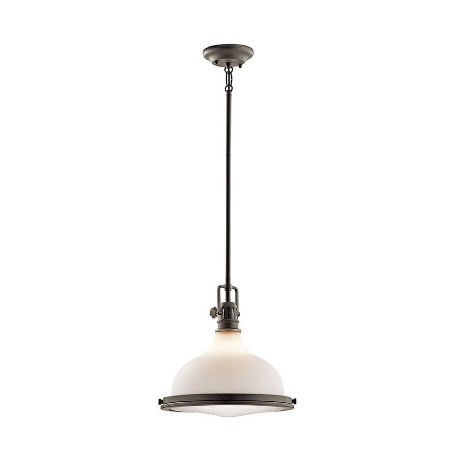 Kichler Lighting Hatteras Bay 13-in Olde Bronze Vintage Hardwired Single Etched Glass Warehouse Pendant
