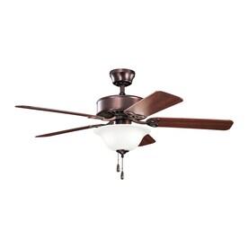 kichler ceiling fans lights kichler renew select 50in oil brushed bronze indoor ceiling fan with light kit fans at lowescom