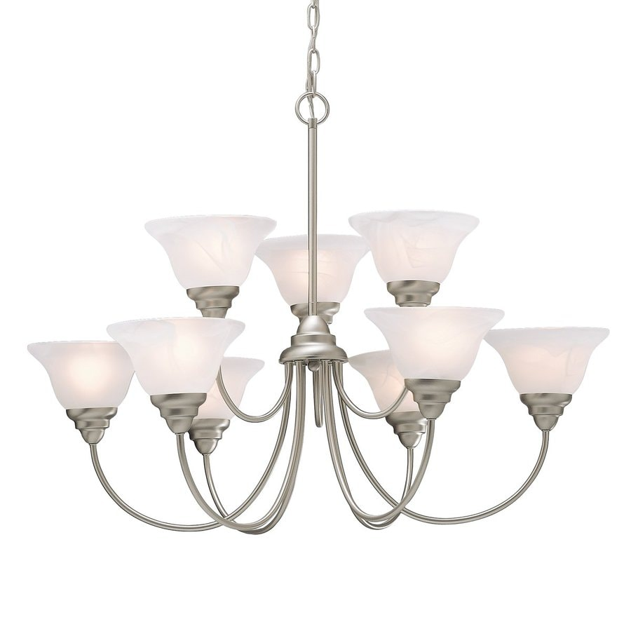 Kichler Lighting Telford 33.5-in 9-Light Brushed Nickel Country Cottage Etched Glass Tiered Chandelier