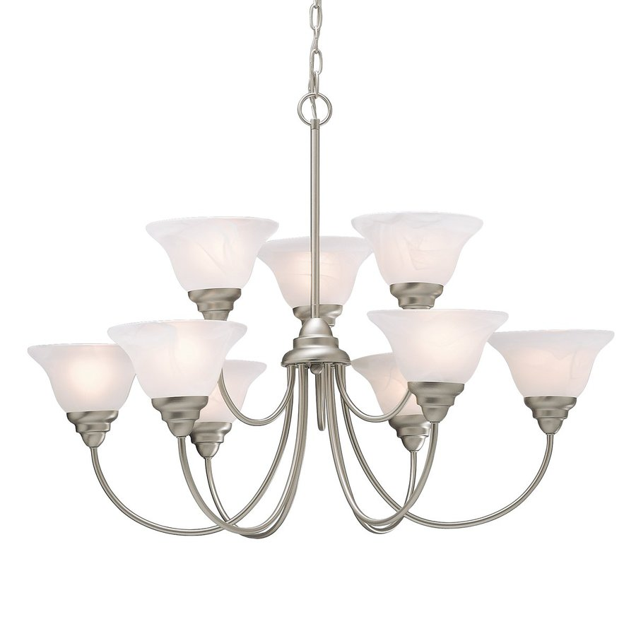 Kichler Telford 33.5-in 9-Light Brushed nickel Country Cottage Etched Glass Tiered Chandelier
