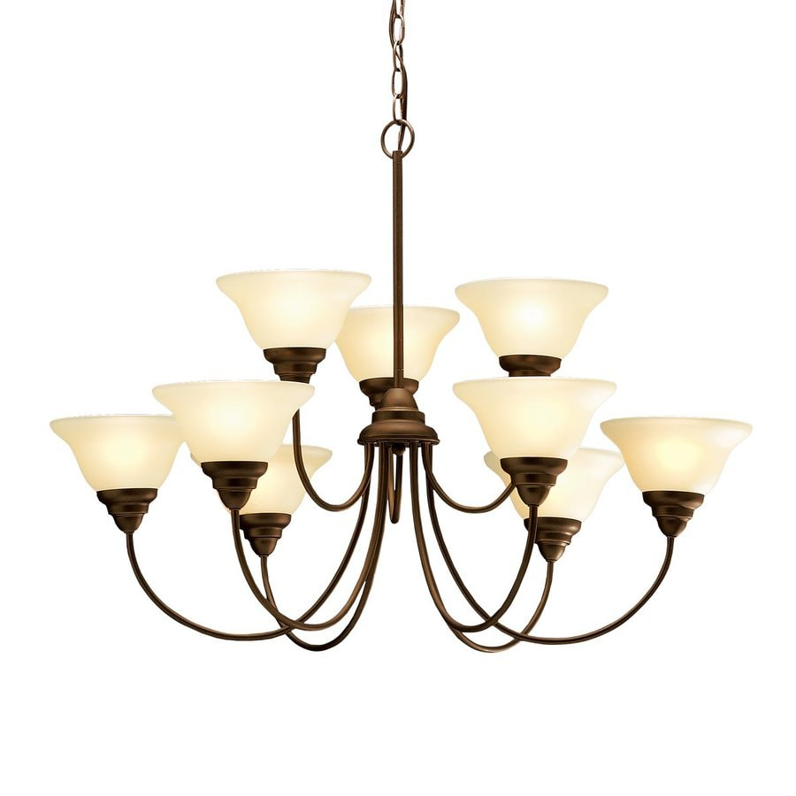 Kichler Lighting Telford 33.5-in 9-Light Olde Bronze Etched Glass Tiered Chandelier