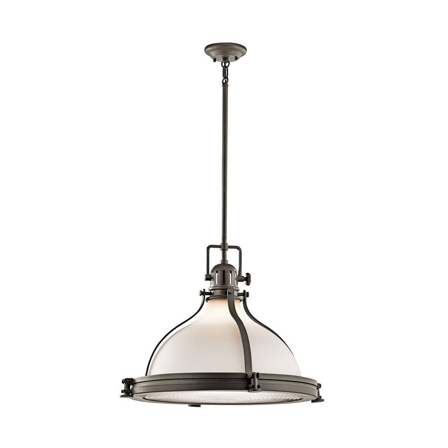Kichler Hatteras Bay 23.75-in Olde Bronze Vintage Hardwired Single Etched Glass Warehouse Pendant