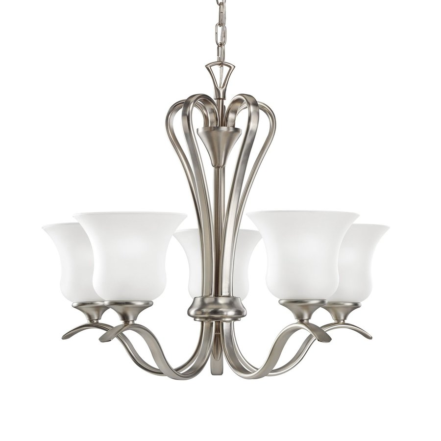 Kichler Wedgeport 23.5-in 5-Light Brushed Nickel Country Cottage Etched Glass Shaded Chandelier