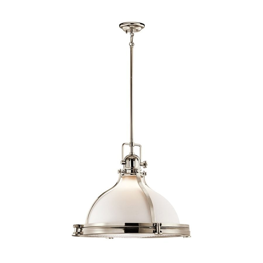 Kichler Lighting Hatteras Bay 23.75-in Polished Nickel Vintage Hardwired Single Etched Glass Warehouse Pendant