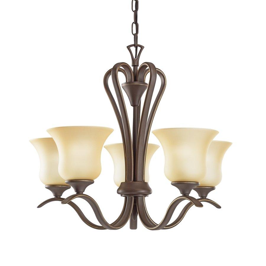 Kichler Wedgeport 23.5-in 5-Light Olde bronze Mediterranean Etched Glass Shaded Chandelier