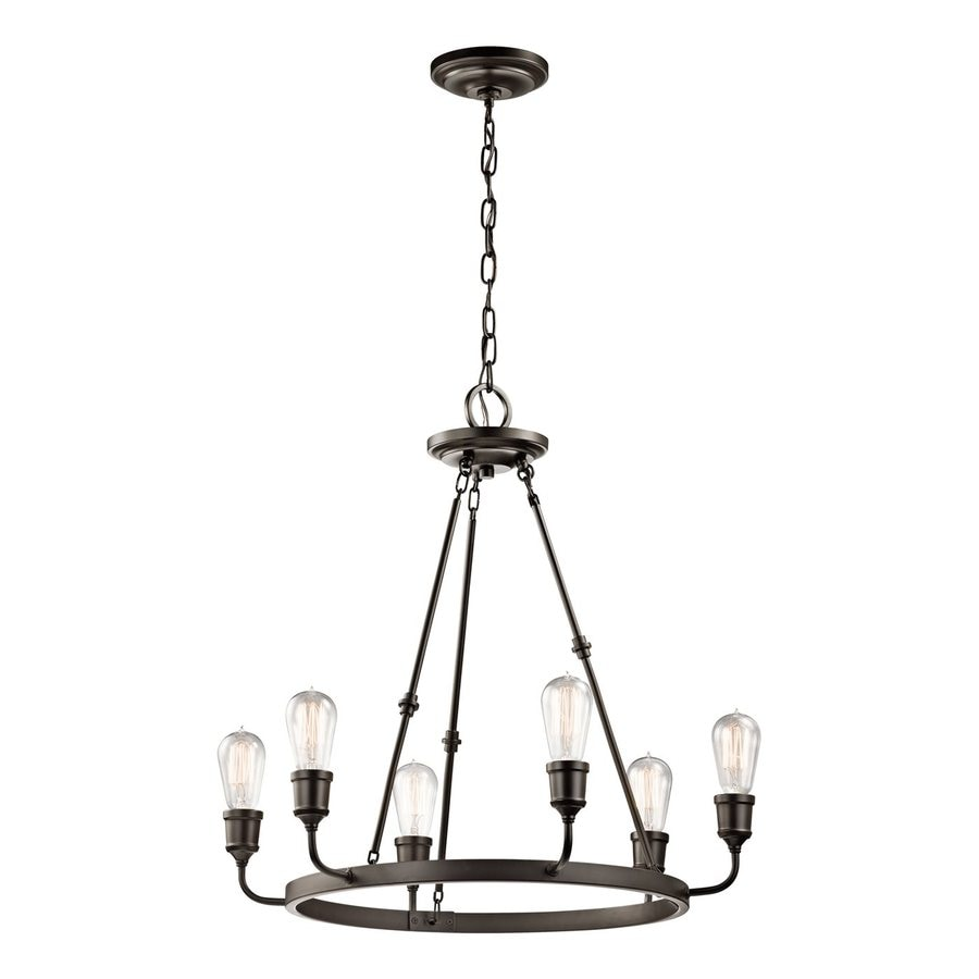 Kichler Lucien 25.25-in 6-Light Olde Bronze Industrial Hardwired Abstract Chandelier