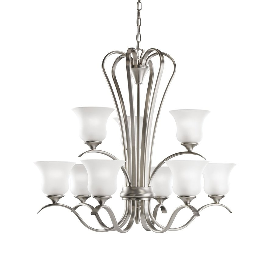 Kichler Wedgeport 32-in 9-Light Brushed Nickel Country Cottage Etched Glass Tiered Chandelier