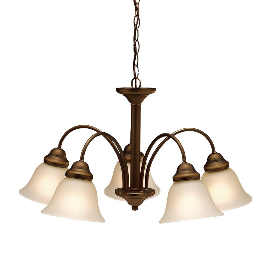 Kichler Wynberg 24.5-in 5-Light Olde bronze Etched Glass Shaded Chandelier