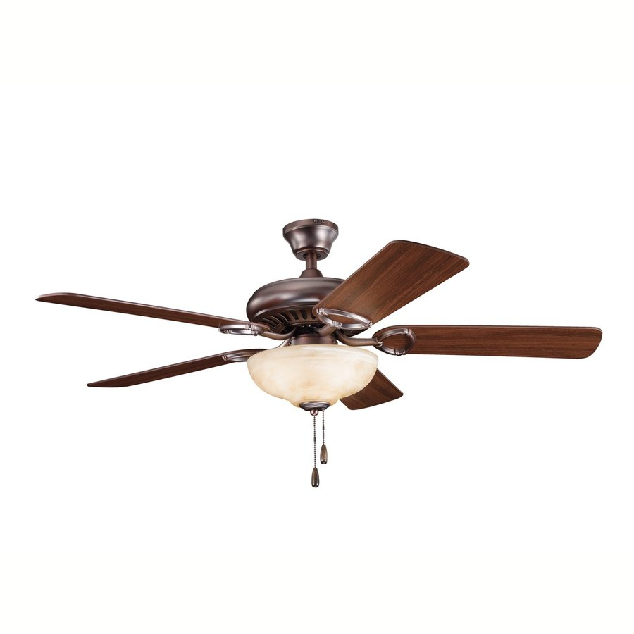 Kichler Lighting Sutter Place Select 52-in Oil Brushed Bronze Downrod or Close Mount Indoor Ceiling Fan with Light Kit (5-Blade)