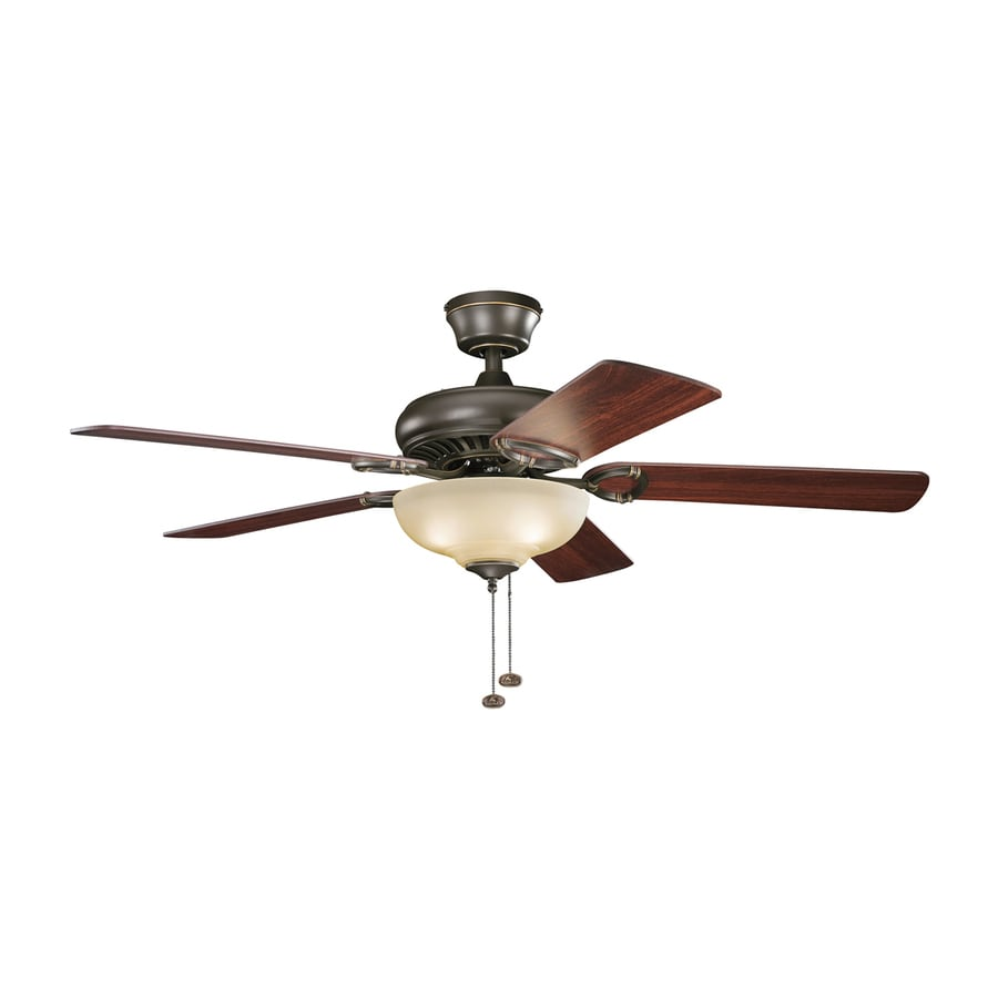 Kichler Sutter Place Select 52-in Olde Bronze Downrod or Close Mount Indoor Residential Ceiling Fan with Light Kit (5-Blade)