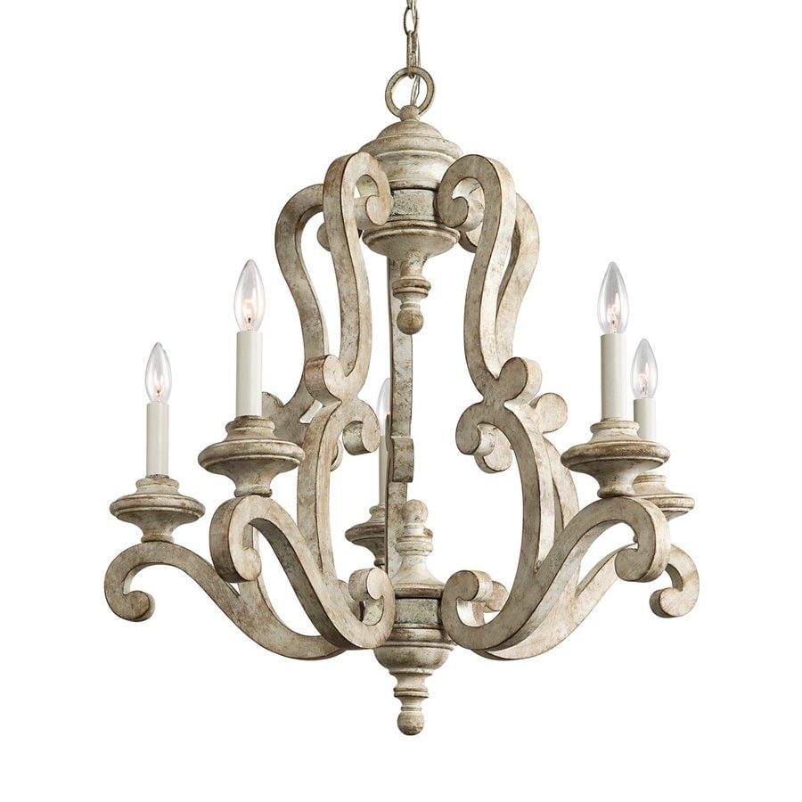 Shop kichler hayman bay 28 in 5 light distressed antique white mediterranean candle chandelier - Light fixtures chandeliers ...