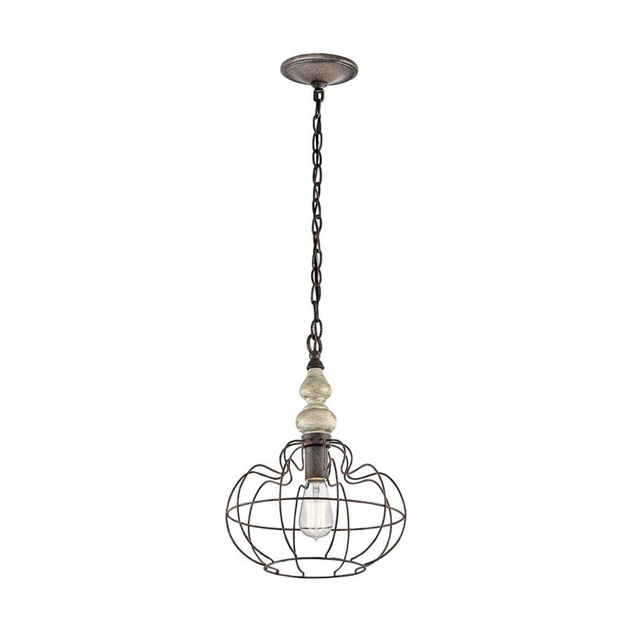 Kichler Lighting Getseto 12-in Distressed Antique White Vintage Hardwired Single Cage Pendant