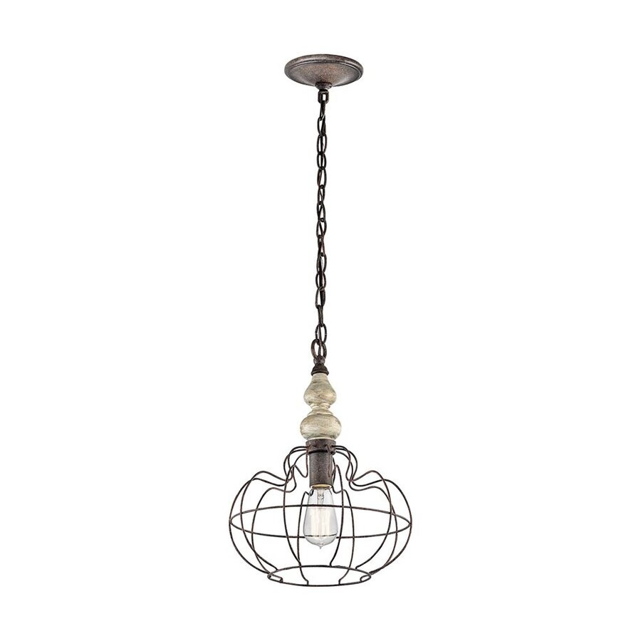 Kichler Getseto 12-in Distressed Antique White Vintage Hardwired Single Cage Pendant