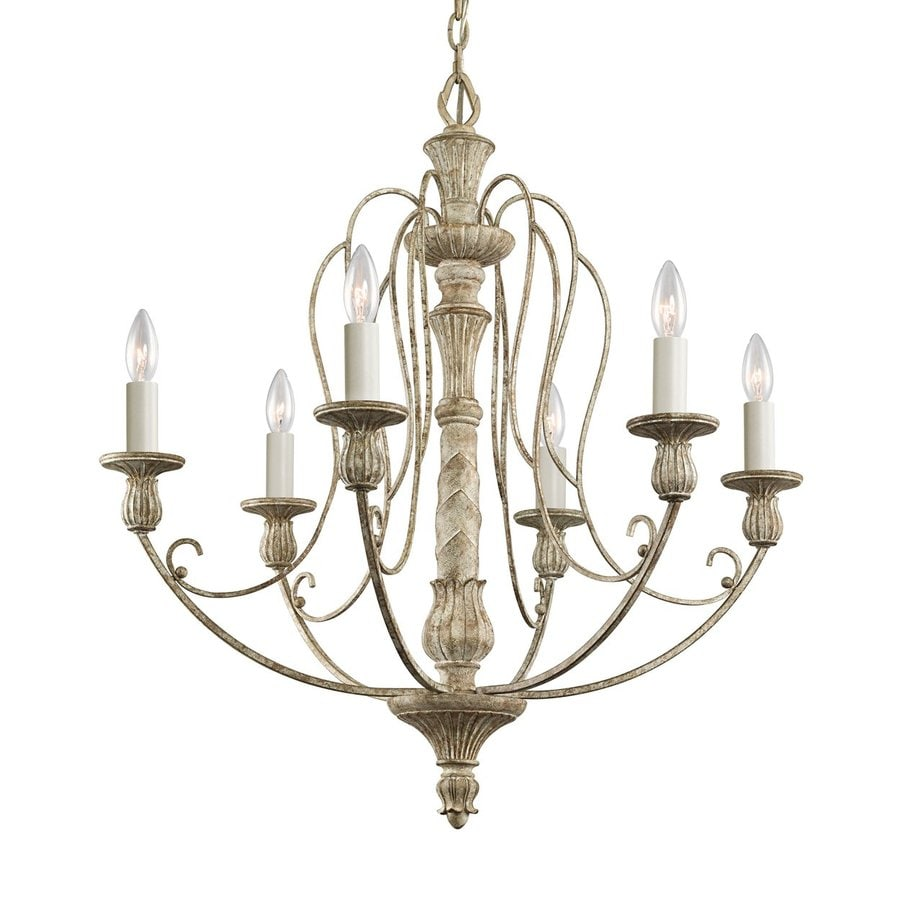 Shop kichler hayman bay 27 in 6 light distressed antique white kichler hayman bay 27 in 6 light distressed antique white vintage hardwired candle chandelier aloadofball Images