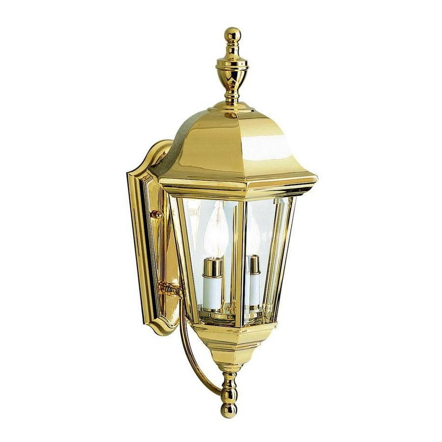 Shop Kichler Grove Mill 20-in H Polished Brass Outdoor Wall Light at Lowes.com