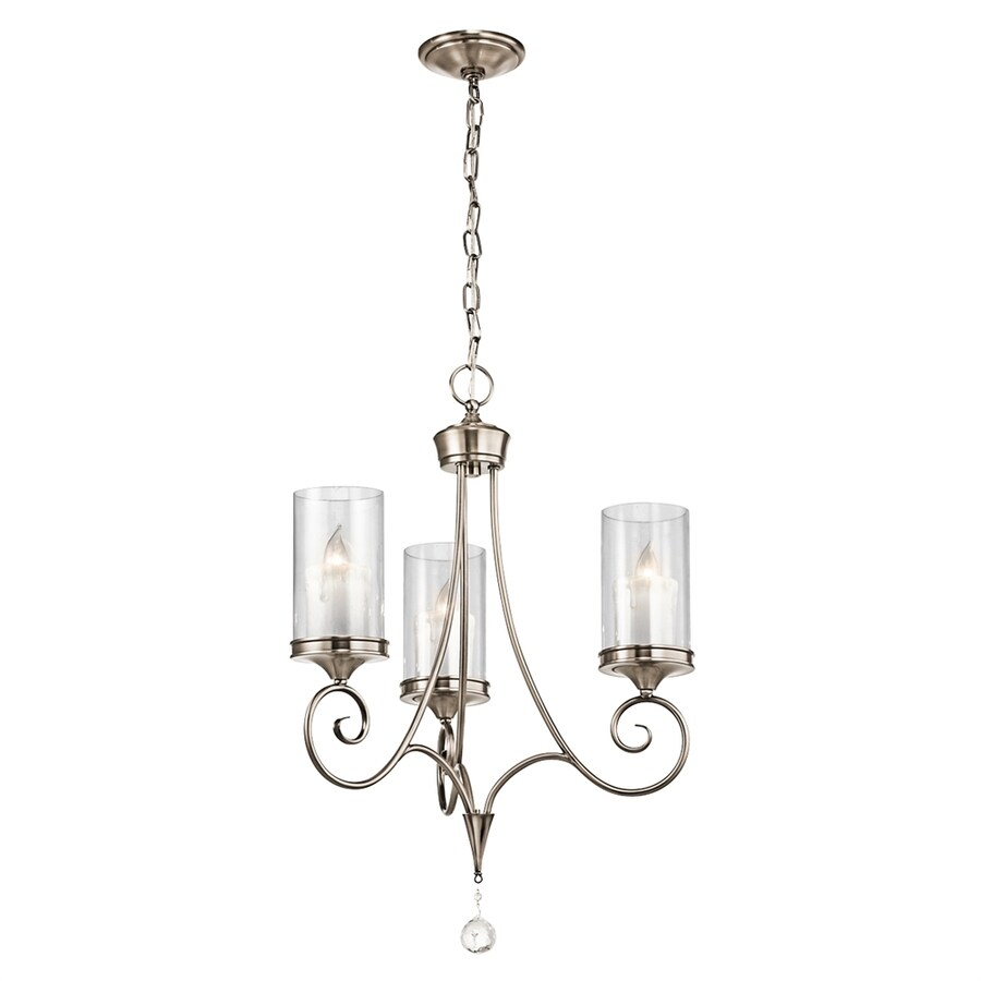 Kichler Lighting Laurel 20-in 3-Light Classic Pewter Vintage Clear Glass Candle Chandelier