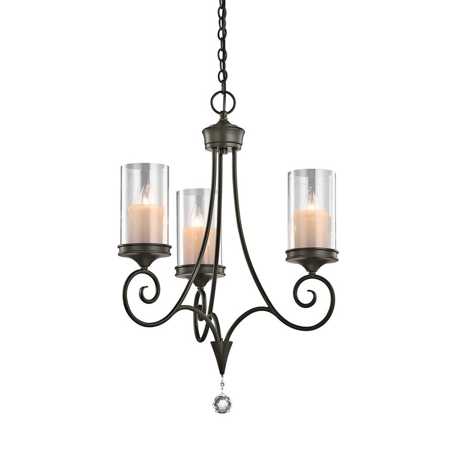 Kichler Lighting Laurel 20-in 3-Light Shadow Bronze Vintage Clear Glass Candle Chandelier