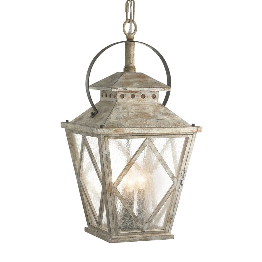 Kichler Lighting Hayman Bay 15-in Distressed Antique White Coastal Hardwired Single Seeded Glass Lantern Pendant