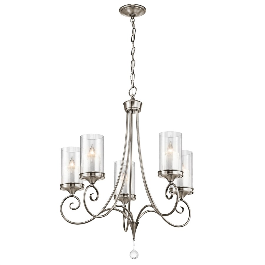 Kichler Lighting Laurel 26.75-in 5-Light Classic Pewter Vintage Clear Glass Candle Chandelier